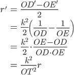 \begin{eqnarray} r' &=& \frac{OD' -OE'}{2}\\    &=&  \frac{k^2}{2}\left(\frac{1}{OD}-\frac{1}{OE}\right)\\    &=& \frac{k^2}{2}\cdot \frac{OE-OD}{OD\cdot OE} \\   &=& \frac{k^2}{OT^2}r \end{eqnarray}