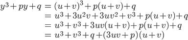 \begin{eqnarray} y^3+py+q&=&(u+v)^3+p(u+v)+q\\ &=&u^3+3u^2v+3uv^2+v^3+p(u+v)+q\\ &=&u^3+v^3+3uv(u+v)+p(u+v)+q\\ &=&u^3+v^3+q+(3uv+p)(u+v) \end{eqnarray}