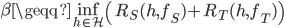 \beta \geqq \inf_{h \in \mathcal{H}} \left( R_S(h, f_S) + R_T (h, f_T) \right)