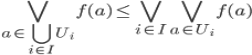 \bigvee_{a \in \bigcup_{i \in I} U_{i}} f(a) \leq \bigvee_{i \in I} \bigvee_{a \in U_{i}} f(a)