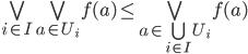 \bigvee_{i \in I} \bigvee_{a \in U_{i}} f(a) \leq \bigvee_{a \in \bigcup_{i \in I} U_{i}} f(a)