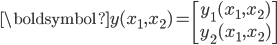 \boldsymbol{y}(x_1,x_2)= \begin{bmatrix} y_{1}(x_1,x_2)\\y_{2}(x_1,x_2)\end{bmatrix}