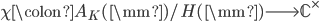\chi \colon A_K(\mm) / H(\mm) \longrightarrow \mathbb{C}^\times