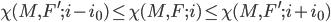 \chi(M, F^{\prime}; i-i_0) \leq \chi(M, F; i)  \leq \chi(M, F^{\prime}; i+i_0)