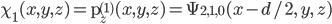 \chi_1(x, y, z) = {\rm p}_z^{(1)}(x, y, z) = \Psi_{2,1,0}(x - d/2, \, y, \, z)