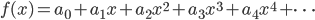 \displaystyle     f(x) = a_0 + a_1 x + a_2 x^2 + a_3 x^3 + a_4 x^4 + \cdots