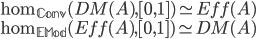 \displaystyle \hom_{\mathbb{Conv}}(DM(A),[0,1])\simeq Eff(A)\\ \hom_{\mathbb{EMod}}(Eff(A),[0,1])\simeq DM(A)