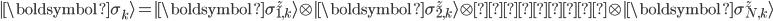 \displaystyle \mid\boldsymbol{\sigma_k}\rangle=\mid\boldsymbol{\sigma^z_{1,k}}\rangle\otimes\mid\boldsymbol{\sigma^z_{2,k}}\rangle\otimes・・・\otimes\mid\boldsymbol{\sigma^z_{N,k}}\rangle