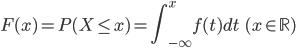 \displaystyle F(x) = P(X \leq x) = \int_{-\infty}^{x} f(t) dt \qquad (x \in \mathbb{R})