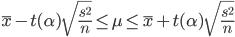 \displaystyle  \bar{x} -t (\alpha) \sqrt{\frac{s ^2}{n}} \leq  \mu \leq \bar{x}  + t (\alpha) \sqrt{\frac{s ^2}{n}}