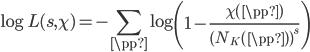 \displaystyle  \log L(s, \chi) = - \sum_{\pp } \log \left( 1 - \frac{\chi(\pp )}{(N_K(\pp ))^s}\right)