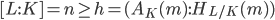 \displaystyle [L : K] = n \geq h = (A_K(\mathfrak{m}) : H_{L/K}(\mathfrak{m}))