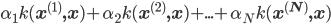 \displaystyle \alpha_1 k( {\bf x^{ (1) }, x} ) + \alpha_2 k( {\bf x^{ (2) }, x} ) + ... + \alpha_N k( {\bf x^{ (N) }, x} )