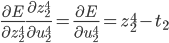 \displaystyle \frac{\partial E}{\partial z_2^4} \frac{\partial z_2^4}{\partial u_2^4} = \frac{\partial E}{\partial u_2^4} = z_2^4 - t_2