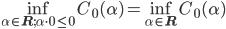 \displaystyle \inf_{\alpha\in\mathbf{R};\alpha\cdot0\le0}C_{0}(\alpha)=\inf_{\alpha\in\mathbf{R}}C_{0}(\alpha)