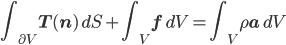 \displaystyle \int_{\partial V} \mathbf{T}(\mathbf{n})\, dS + \int_V \mathbf{f} \, dV = \int_V \rho \mathbf{a} \, dV
