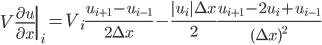 \displaystyle \left.V\frac{\partial u}{\partial x}\right|_i =  V_i \frac{u_{i+1} - u_{i-1}}{2 \Delta x} - \frac{|u_i| \Delta x}{2} \frac{u_{i+1} - 2 u_i + u_{i-1}}{(\Delta x)^2}