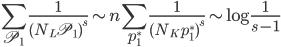\displaystyle \sum_{\mathfrak{P}_1} \frac{1}{(N_L \mathfrak{P}_1)^s} \sim n \sum_{\mathfrak{p}_1^*} \frac{1}{(N_K \mathfrak{p}_1^*)^s} \sim \log\frac{1}{s-1}