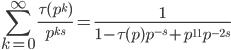 \displaystyle \sum_{k=0}^{\infty} \frac{\tau(p^k)}{p^{ks}} = \frac{1}{1 - \tau(p) p^{-s} + p^{11} p^{-2s}}