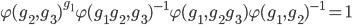 \displaystyle \varphi(g_2, g_3)^{g_1}\varphi(g_1 g_2, g_3)^{-1}\varphi(g_1,  g_2 g_3) \varphi(g_1, g_2)^{-1} = 1