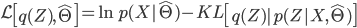\displaystyle {\mathcal L}\left[q(Z), {\hat \Theta} \right]  = \ln p(X| {\hat \Theta}) - KL\left[q(Z) | p(Z| X, {\hat \Theta}) \right]