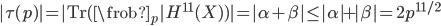 \displaystyle |\tau(p)| = |\mathrm{Tr}(\frob_p | H^{11}(X) )| = |\alpha + \beta| \leq |\alpha| + |\beta| = 2p^{11/2}