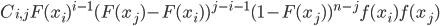 \displaystyle C_{i, j} F(x_i)^{i-1}  ( F(x_j) - F(x_i ) )^{j-i-1} ( 1-F(x_j) )^{n-j} f(x_i) f(x_j)