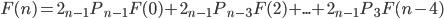 \displaystyle F(n) = 2 {}_{n-1} P {}_{n-1} F(0) + 2 {}_{n-1} P {}_{n-3} F(2) + ... + 2 {}_{n-1} P {}_3 F(n-4)