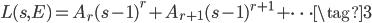 \displaystyle L(s, E) = A_r (s-1)^r + A_{r+1}(s-1)^{r+1} + \cdots \tag{3}