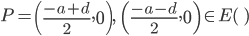 \displaystyle P =  \left(\frac{-a + d}{2}, 0\right), \;\; \left(\frac{-a - d}{2}, 0\right) \in E(\qq)