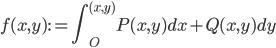 \displaystyle f(x, y) := \int_{O}^{(x, y)} P(x, y)dx + Q(x, y)dy