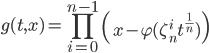 \displaystyle g(t,x)=\prod_{i=0}^{n-1}\left(x-\varphi(\zeta_n^it^{\frac{1}{n}})\right)