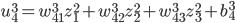 \displaystyle u_4^3 = w_{41}^3 z_1^2 + w_{42}^3 z_2^2 + w_{43}^3 z_3^2 + b_4^3