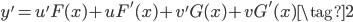 \displaystyle y' = u'F(x) +uF'(x) +v'G(x) +vG'(x) \tag{2}
