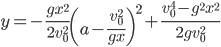 \displaystyle y=-\frac{gx^2}{2v_0^2}\left(a-\frac{v_0^2}{gx}\right)^2+\frac{v_0^4-g^2x^2}{2gv_0^2}