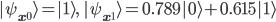 \displaystyle{  | \psi_{{\bf x}^0} \rangle  = | 1 \rangle, \   | \psi_{{\bf x}^1} \rangle  = 0.789 | 0 \rangle + 0.615 | 1 \rangle }