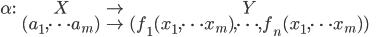 \displaystyle{ \begin{eqnarray} \alpha : &X& \to &Y& \\ &(a_1, \cdots a_m)& \mapsto &(f_1(x_1, \cdots x_m), \cdots , f_n(x_1, \cdots x_m))& \end{eqnarray} }