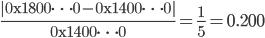 \displaystyle{ \frac{|\mathrm{0x1800 \cdots 0} - \mathrm{0x1400 \cdots 0}|}{\mathrm{0x1400 \cdots 0}} = \frac{1}{5} = 0.200 }