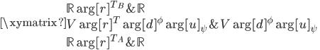 \displaystyle{ \xymatrix{     \mathbb{R} \ar[r]^{T_B} & \mathbb{R} \\     V \ar[r]^{T} \ar[d]^{\phi} \ar[u]_{\psi} & V \ar[d]^{\phi} \ar[u]_{\psi} \\     \mathbb{R} \ar[r]^{T_A} & \mathbb{R} } }