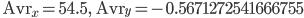\displaystyle{\ {\rm Avr}_x=54.5, \qquad {\rm Avr}_y=-0.5671272541666755}
