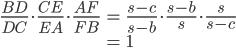 \displaystyle{\begin{align} \frac{BD}{DC}\cdot \frac{CE}{EA}\cdot \frac{AF}{FB} &= \frac{s-c}{s-b}\cdot \frac{s-b}{s}\cdot \frac{s}{s-c} \\&= 1  \end{align}}
