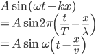 \displaystyle{A\sin (\omega t - kx) \\ = A\sin 2 \pi \left (\frac{t}{T} -\frac{x}{\lambda} \right)\\ = A\sin \omega \left ( t -\frac{x}{v} \right)}