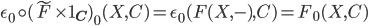 \epsilon_{0} \circ (\tilde{F} \times 1_{\bf{C}})_{0}(X, C) = \epsilon_{0}(F(X, -), C) = F_{0}(X,C)