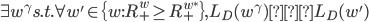 \exists w^\gamma s.t. \forall w' \in \{w: R^w_+ \geq R_+^{w^*}\}, L_D(w^\gamma) < L_D(w')