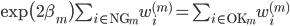 \exp \bigl( 2 \beta_m \bigr) \sum_{i \in {\rm NG}_m} w_i^{(m)} = \sum_{i \in {\rm OK}_m} w_i^{(m)}