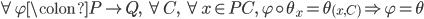 \forall \varphi \colon P \to Q,\ \forall C,\ \forall x \in PC,\ \varphi \circ \theta_{x} = \theta_{(x, C)} \Rightarrow \varphi = \theta
