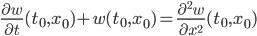 \frac{\partial w}{\partial t}(t_0,x_0)+w(t_0,x_0) = \frac{\partial^2 w}{\partial x^2}(t_0,x_0)