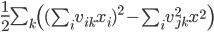 \frac{1}{2} \sum_k \left( (\sum_i v_{ik}x_i)^2 - \sum_i v_{jk}^2x^2 \right)