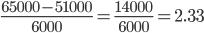 \frac{65000-51000}{6000} = \frac{14000}{6000} = 2.33