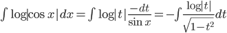 \int \log |\cos x|dx=\int \log |t| \frac{-dt}{\sin x}=-\int \frac{\log |t|}{\sqrt{1-t^{2}}}dt